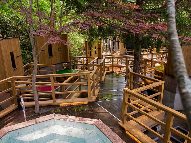 【森の散歩湯WOOD SPA】北湯沢の森を散歩するように、男女各10個の露天をご堪能ください。(夜朝入替え制)
